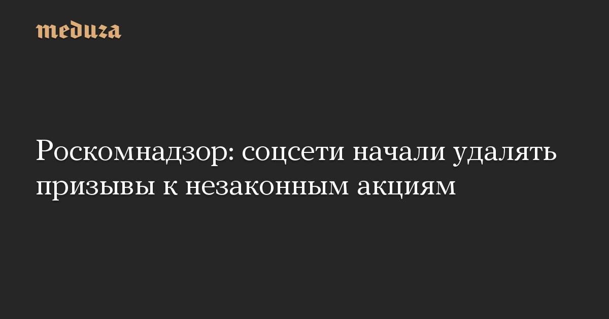 Роскомнадзор: соцсети начали удалять призывы к незаконным акциям