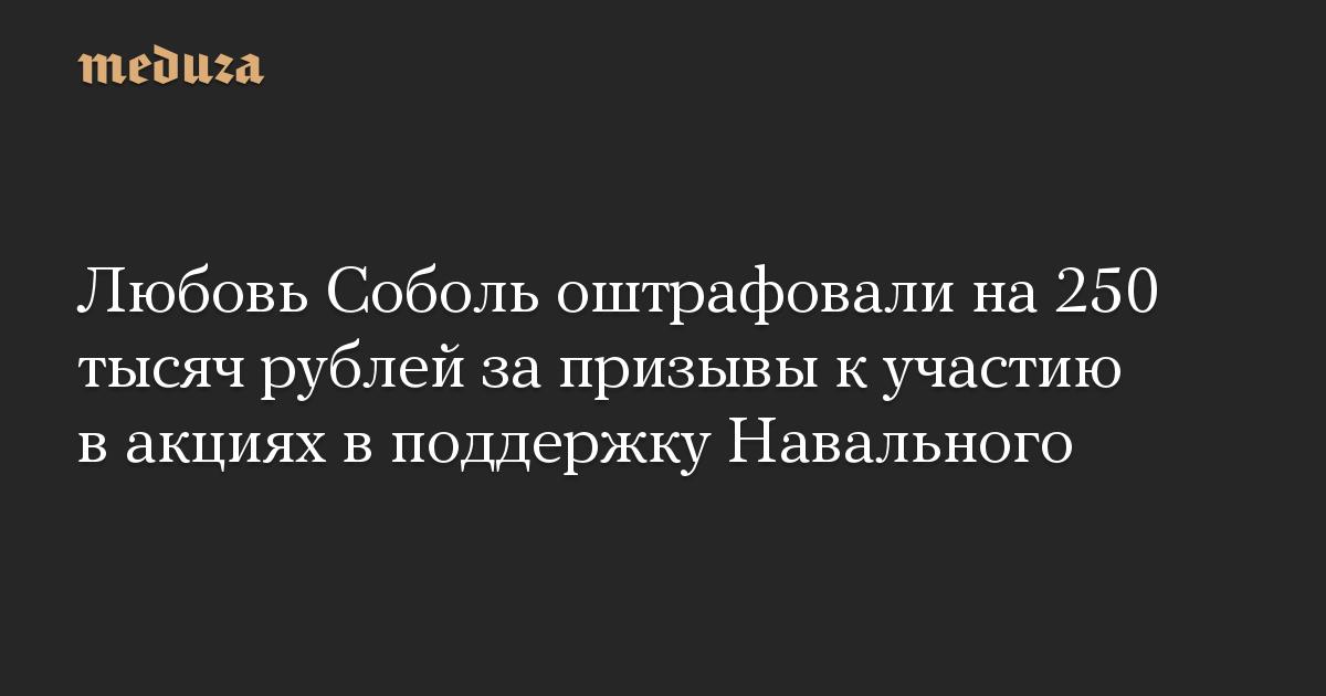 Любовь Соболь оштрафовали на 250 тысяч рублей за призывы к участию в акциях в поддержку Навального