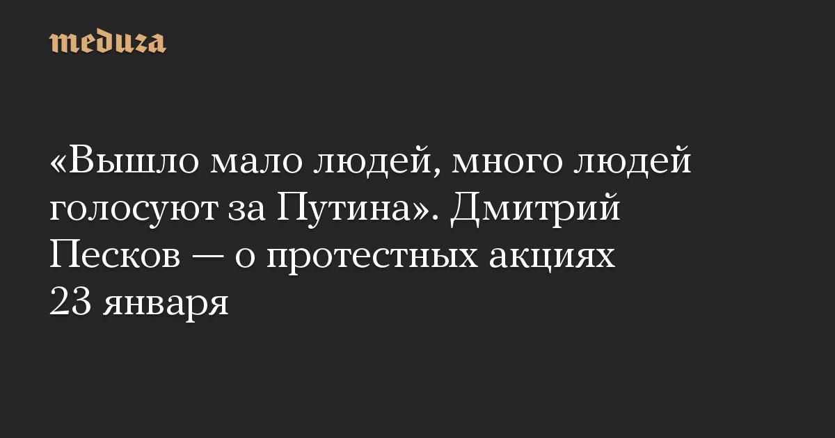 «Вышло мало людей, много людей голосуют за Путина». Дмитрий Песков — о протестных акциях 23 января
