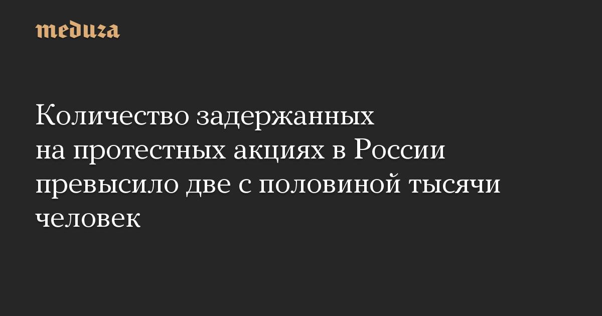 Количество задержанных на протестных акциях в России превысило две с половиной тысячи человек