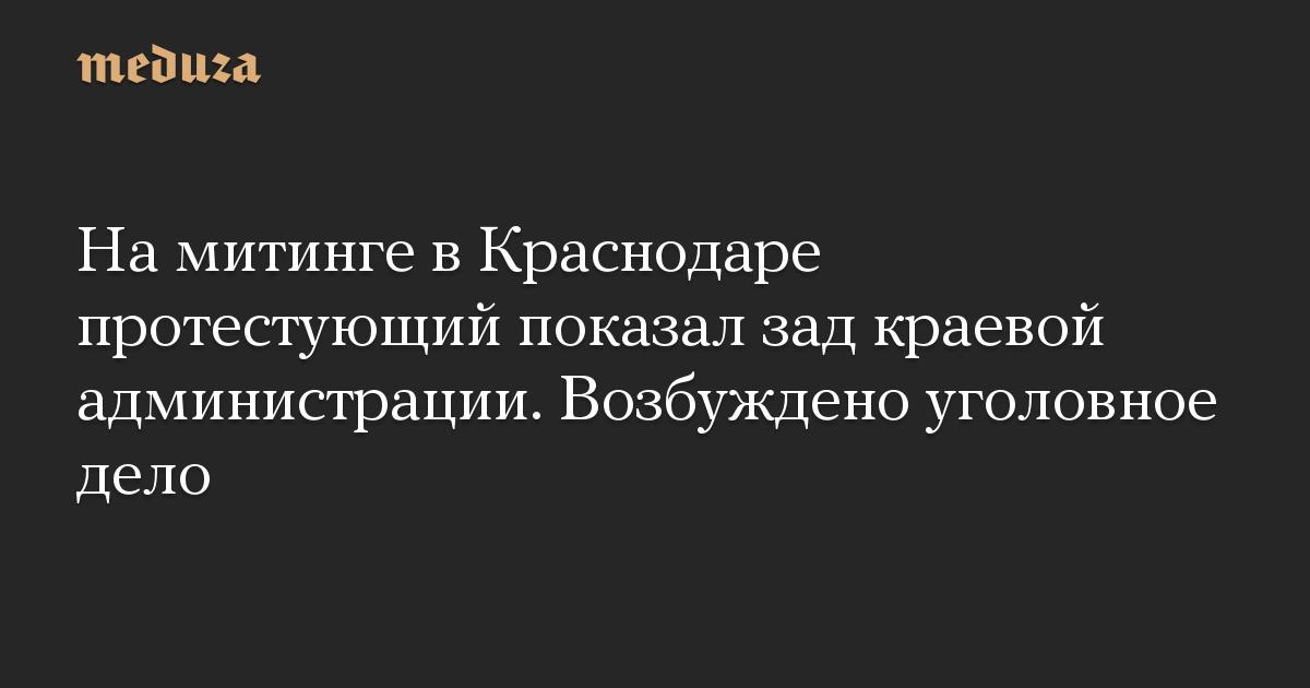 На митинге в Краснодаре протестующий показал зад краевой администрации. Возбуждено уголовное дело