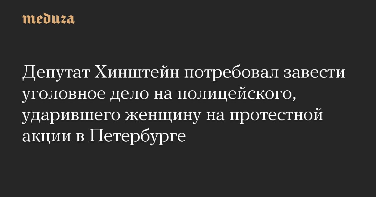 Депутат Хинштейн потребовал завести уголовное дело на полицейского, ударившего женщину на протестной акции в Петербурге