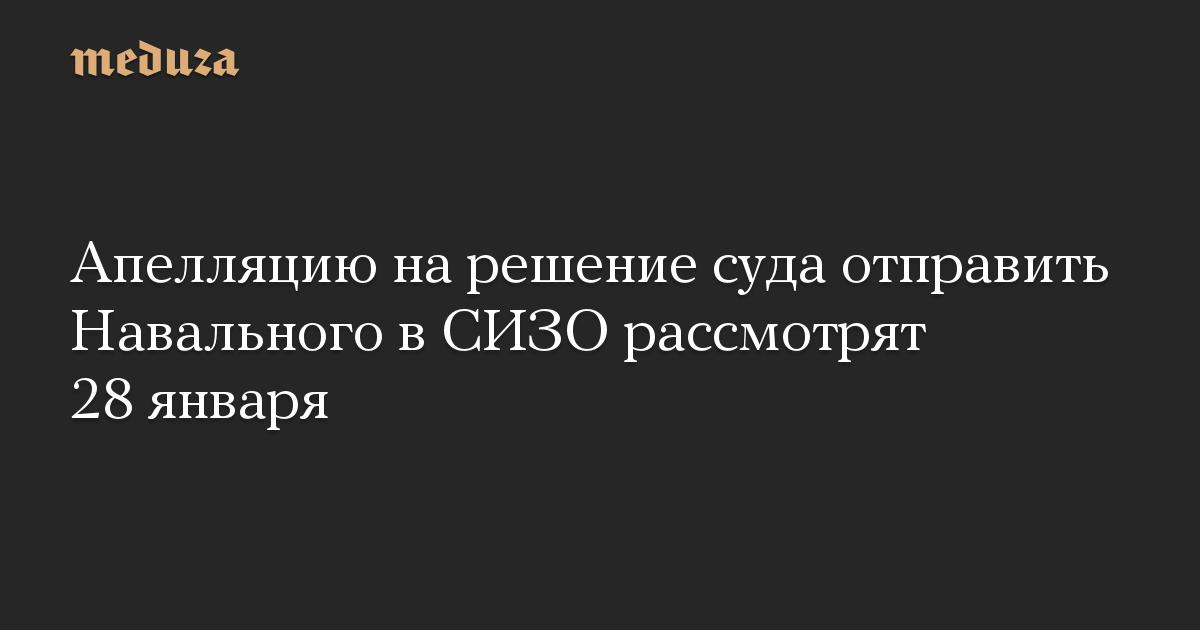 Апелляцию на решение суда отправить Навального в СИЗО рассмотрят 28 января