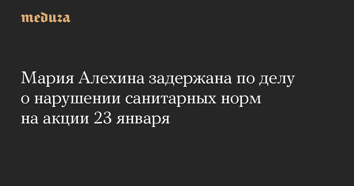 Мария Алехина задержана по делу о нарушении санитарных норм на акции 23 января