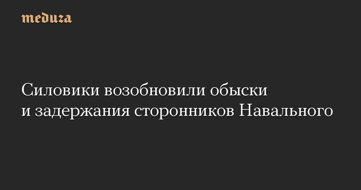Силовики возобновили обыски и задержания сторонников Навального