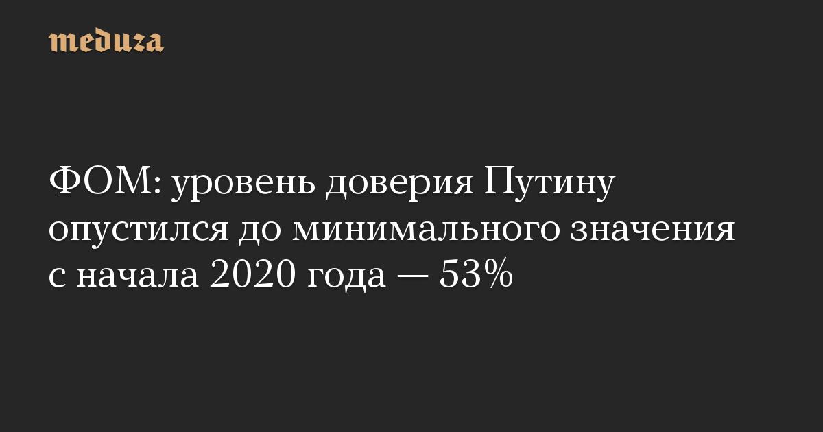 ФОМ: уровень доверия Путину опустился до минимального значения с начала 2020 года — 53%