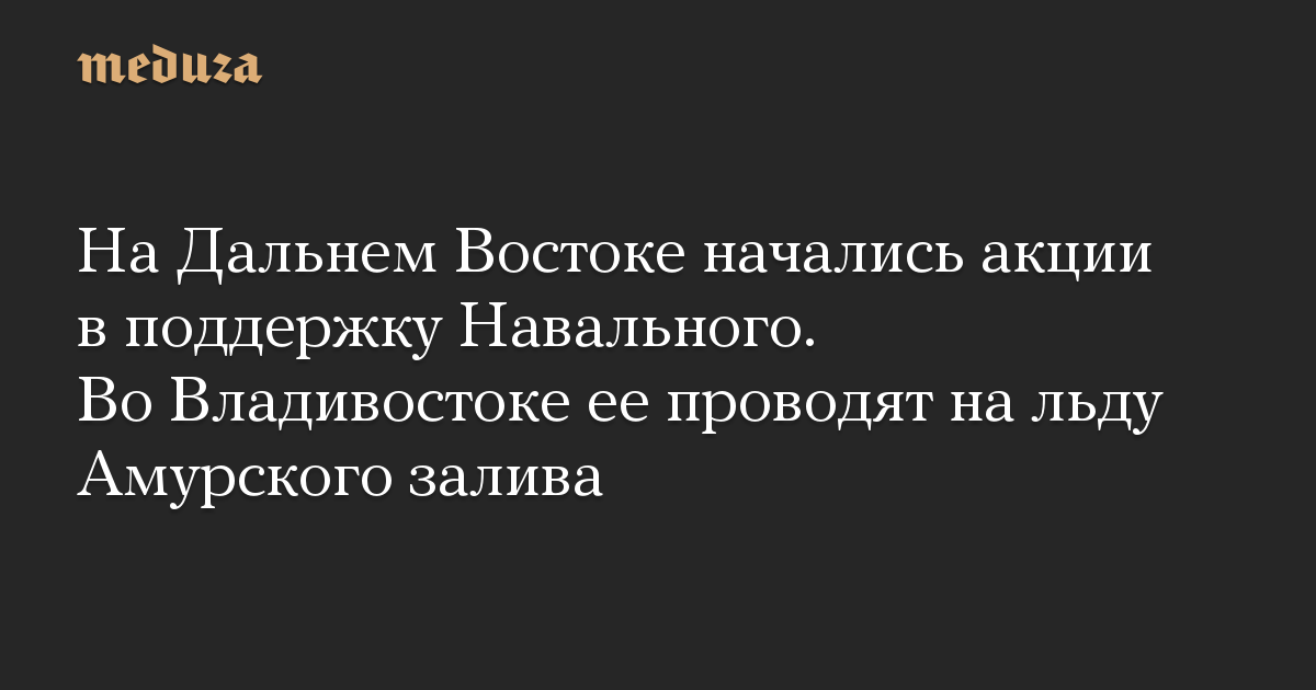 На Дальнем Востоке начались акции в поддержку Навального. Во Владивостоке ее проводят на льду Амурского залива