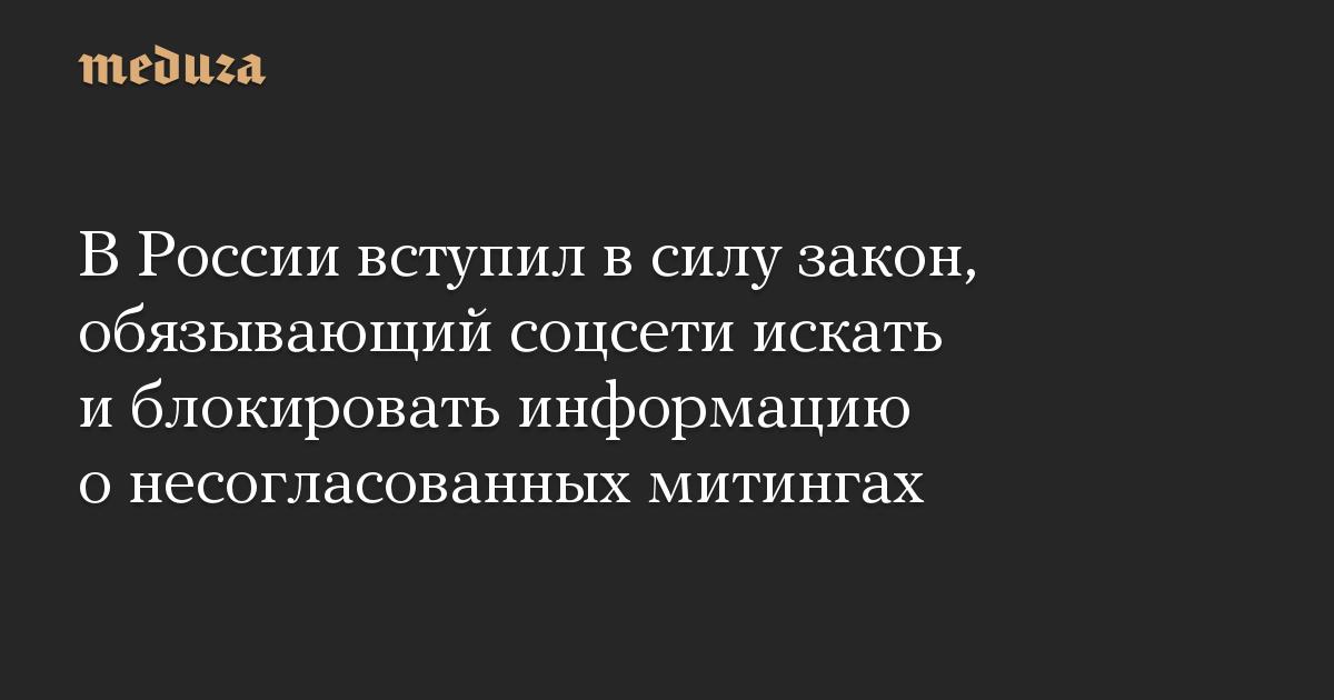 В России вступил в силу закон, обязывающий соцсети искать и блокировать информацию о несогласованных митингах