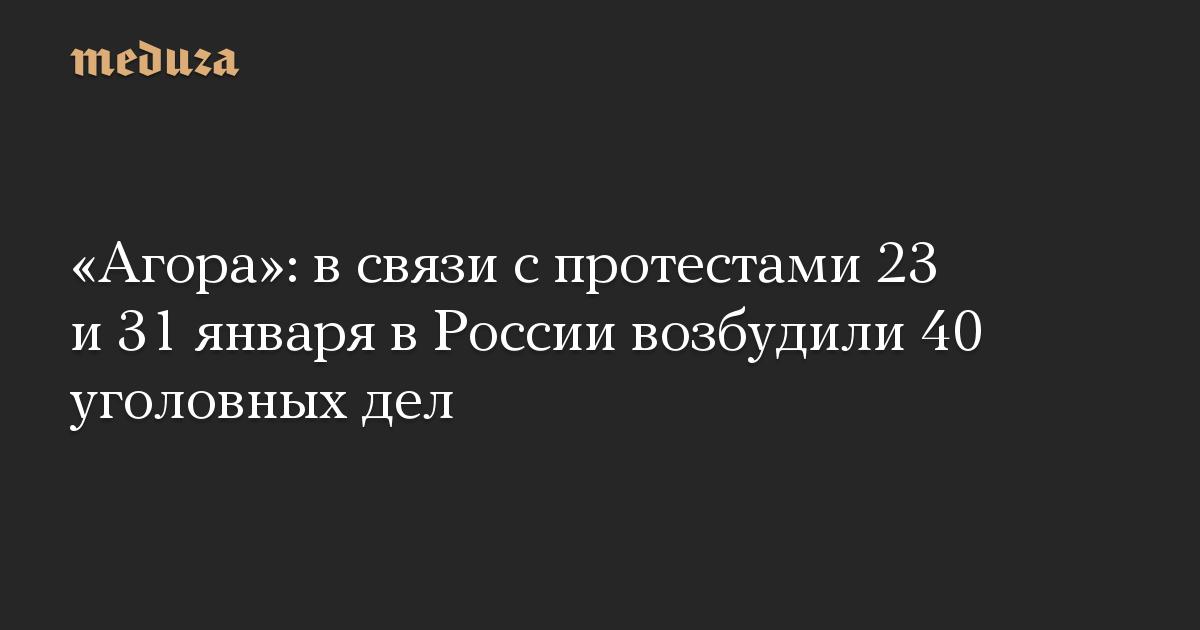 «Агора»: в связи с протестами 23 и 31 января в России возбудили 40 уголовных дел