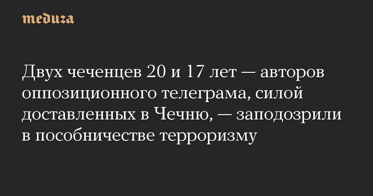 Двух чеченцев 20 и 17 лет — авторов оппозиционного телеграма, силой доставленных в Чечню, — заподозрили в пособничестве терроризму