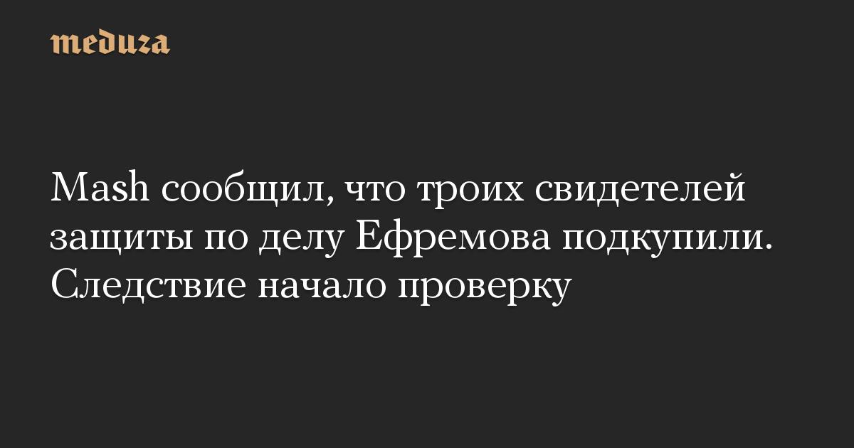 Mash сообщил, что троих свидетелей защиты по делу Ефремова подкупили. Следствие начало проверку