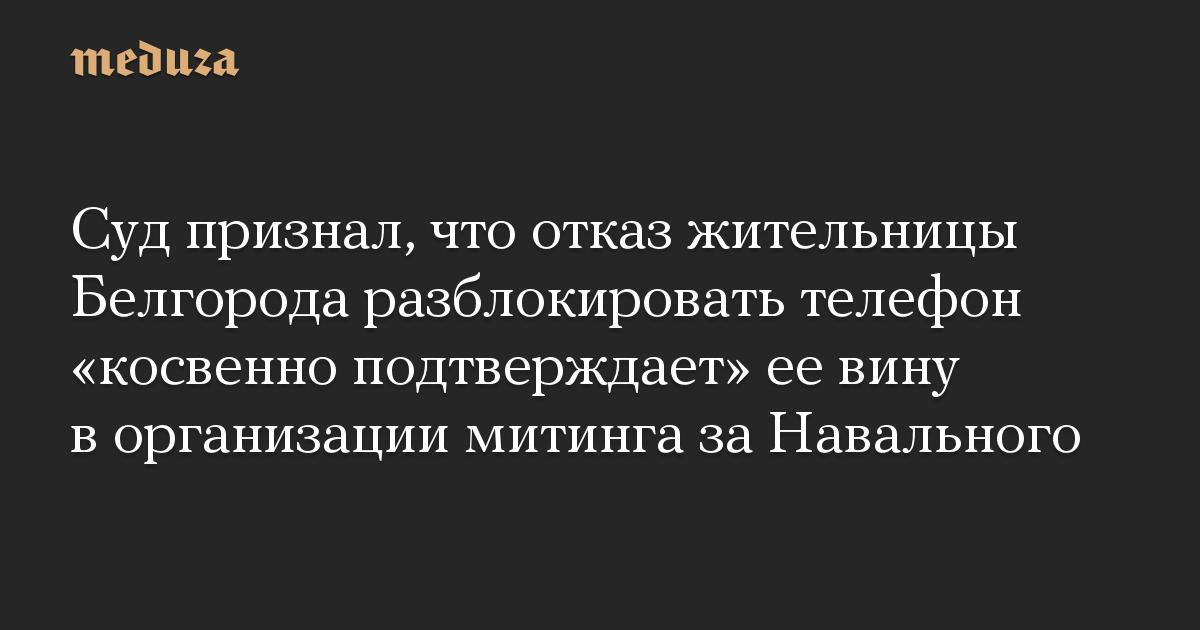 Суд признал, что отказ жительницы Белгорода разблокировать телефон «косвенно подтверждает» ее вину в организации митинга за Навального