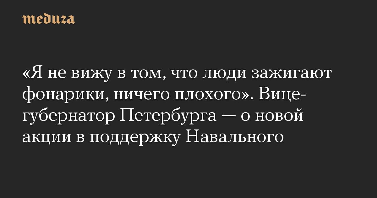 «Я не вижу в том, что люди зажигают фонарики, ничего плохого». Вице-губернатор Петербурга — о новой акции в поддержку Навального