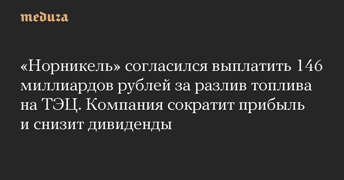 «Норникель» согласился выплатить 146 миллиардов рублей за разлив топлива на ТЭЦ. Компания сократит прибыль и снизит дивиденды