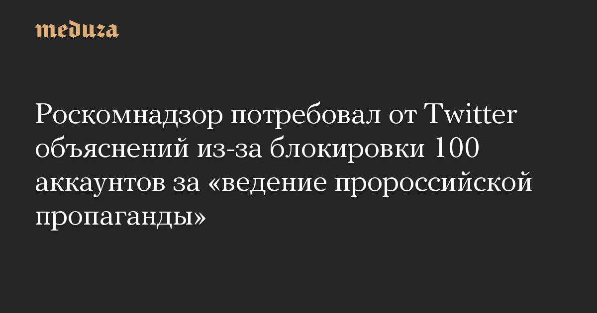 Роскомнадзор потребовал от Twitter объяснений из-за блокировки 100 аккаунтов за «ведение пророссийской пропаганды»