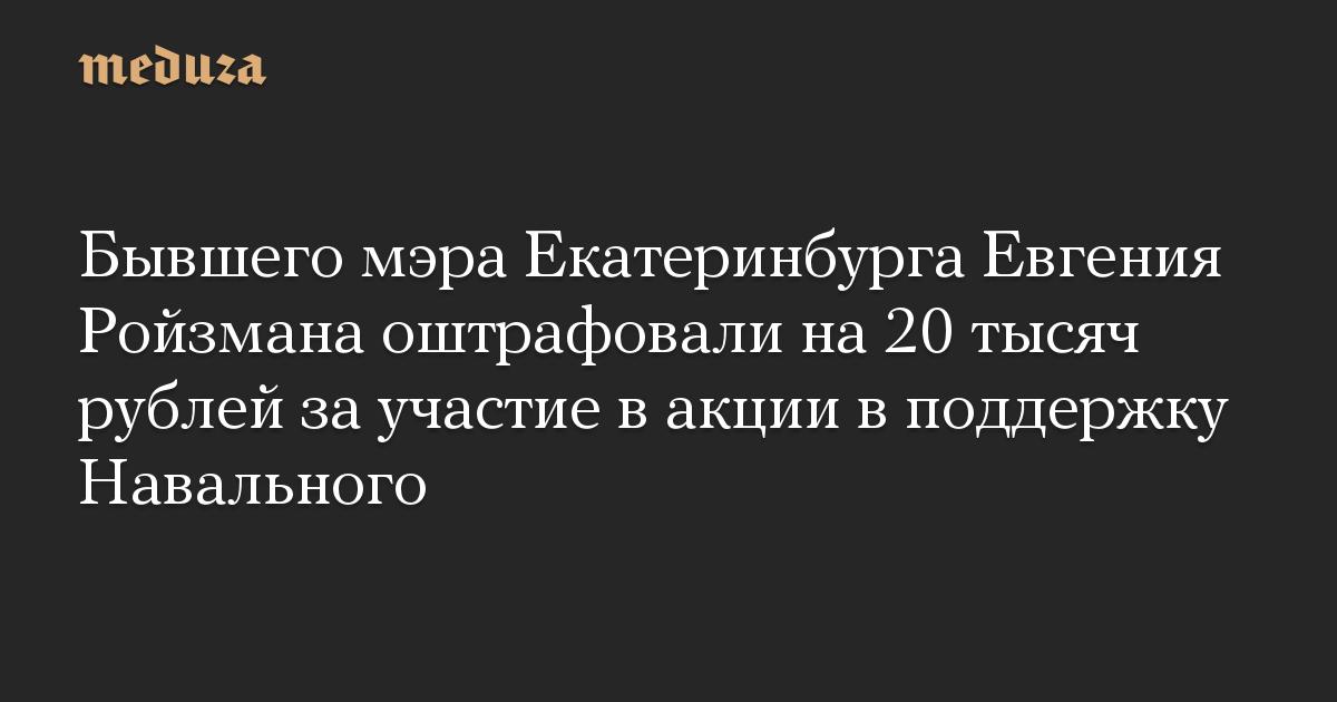 Бывшего мэра Екатеринбурга Евгения Ройзмана оштрафовали на 20 тысяч рублей за участие в акции в поддержку Навального