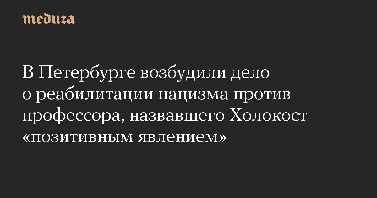 В Петербурге возбудили дело о реабилитации нацизма против профессора, назвавшего Холокост «позитивным явлением»