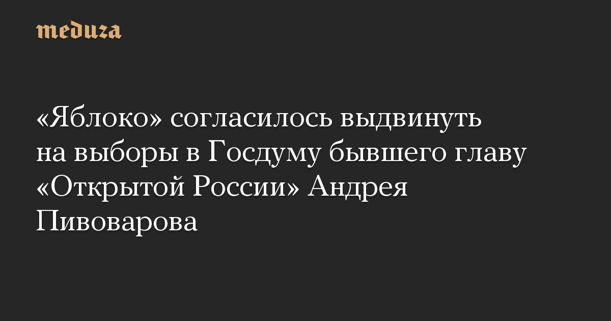 «Яблоко» согласилось выдвинуть на выборы в Госдуму бывшего главу «Открытой России» Андрея Пивоварова
