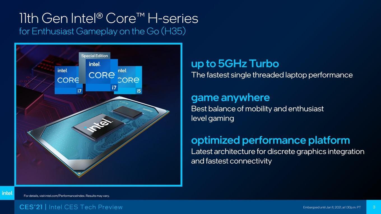 Intel представила 35-ваттные CPU Core 11-го поколения (Tiger Lake-H)