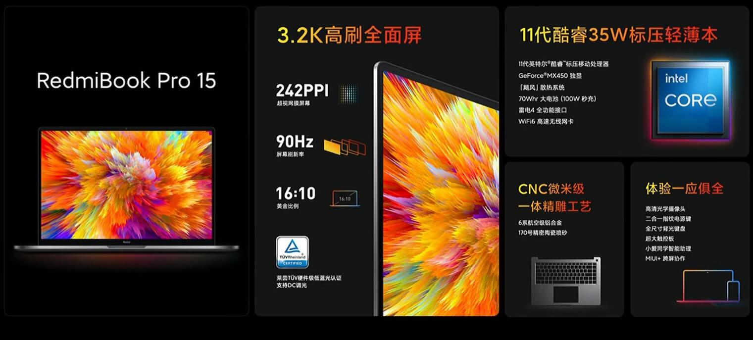 Представлены RedmiBook Pro – экран 3.2К, зарядка на 100 Вт и Thunderbolt 4 за $775