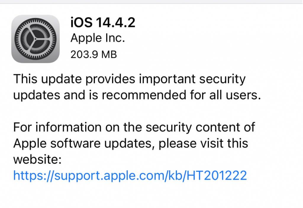 Apple выпустила важные обновления безопасности iOS 14.4.2 и iPadOS 14.4.2