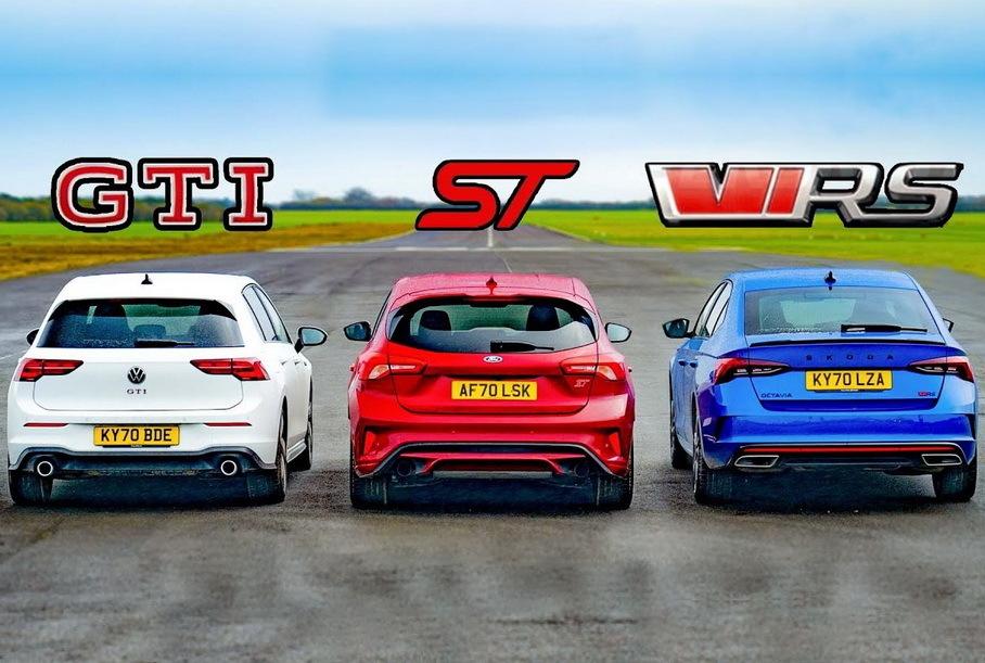 Дрэг-гонка: новая Octavia RS против Ford Focus ST и Volkswagen Golf GTI