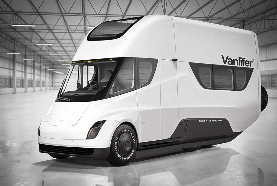 Фургон Tesla сможет заряжаться от раскладной крыши с солнечными батареями
