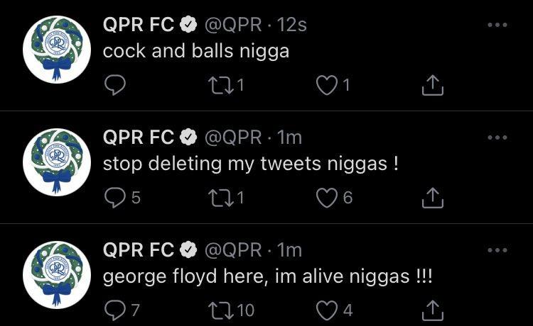 Твиттер «КПР» был взломан. В нем опубликовали расистские посты со словом «nigga»