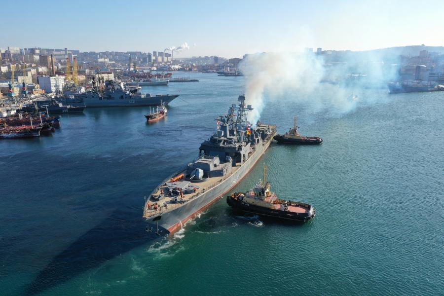 Обновленный корабль «Маршал Шапошников» вышел в Японское море для проверки систем вооружения