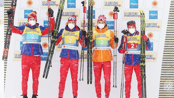 Российские лыжники растеряли преимущество в 45 секунд после первого этапа и стали вторыми в эстафете на ЧМ-2021