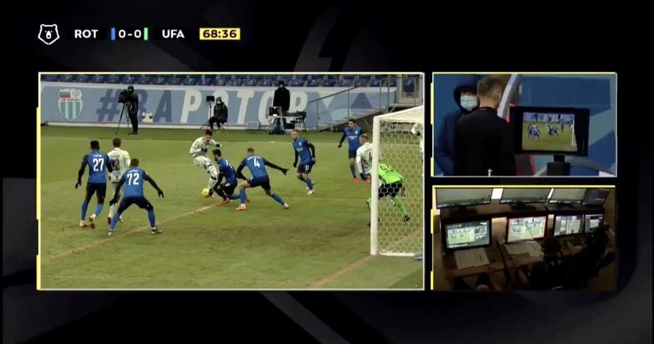 Казарцев не назначил пенальти за игру рукой в штрафной «Ротора» в матче с «Уфой»