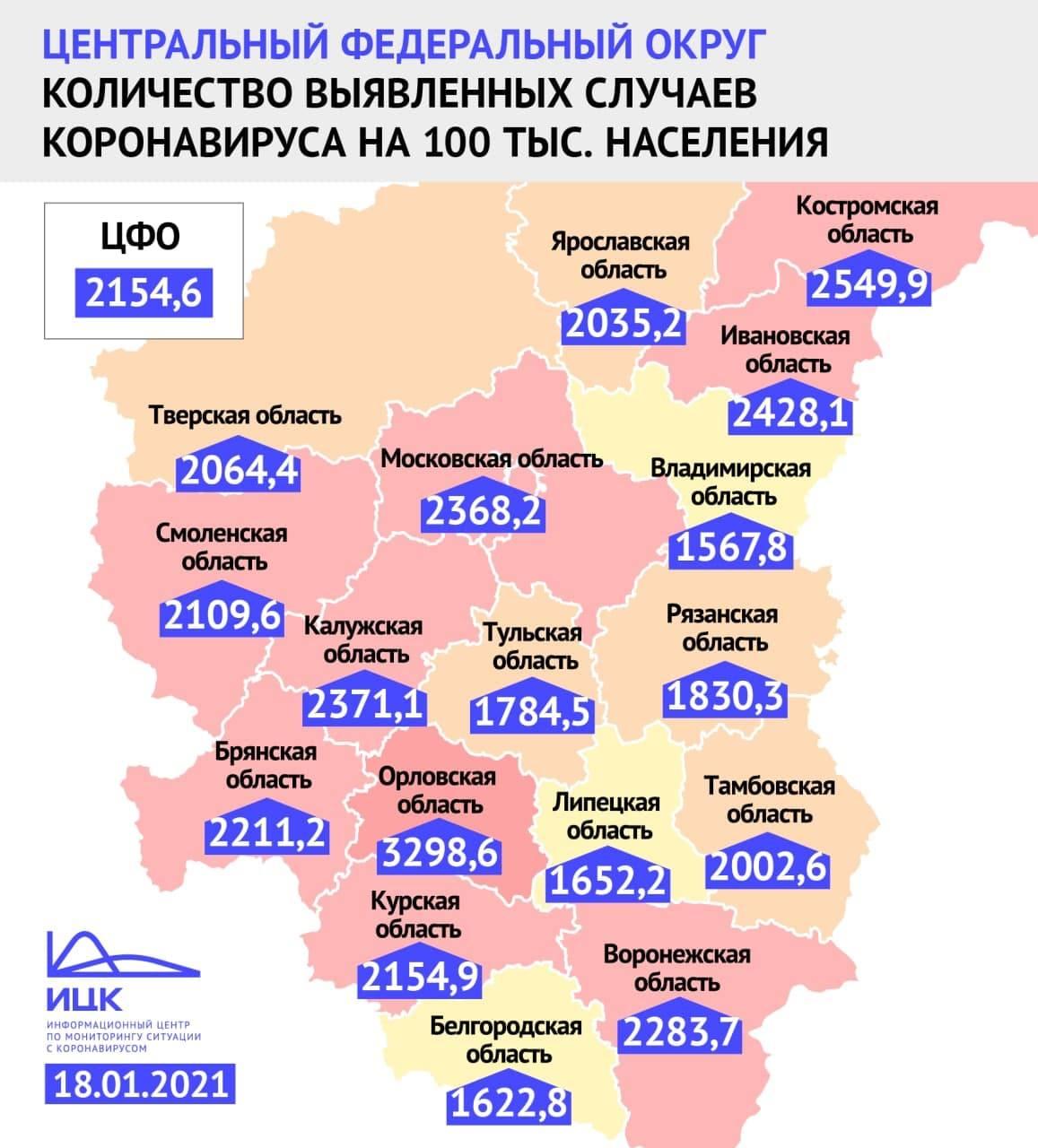 Назван уровень заболеваемости COVID-19 в Смоленской области