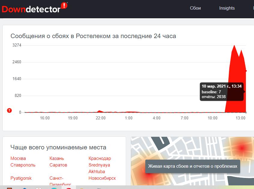 Ростелеком оставил без интернета сайты госорганов